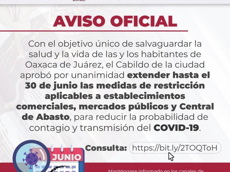Ayuntamiento de Oaxaca extiende medidas restrictivas hasta 30 de junio