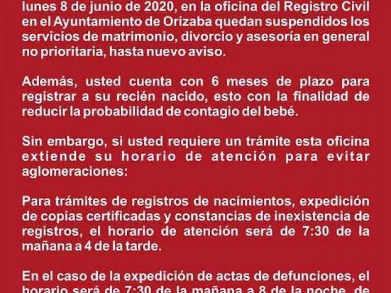 Ayuntamiento de Orizaba suspende tramites de matrimonio y divorcio.