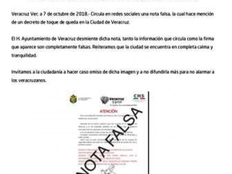 Ayuntamiento de Veracruz desmiente toque de queda