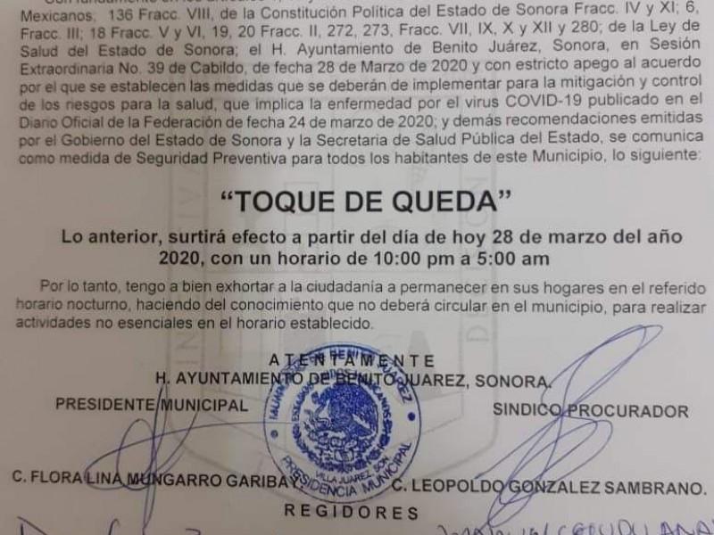 Benito Juárez, se suma a medida de Toque de queda