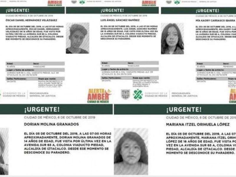 Buscan a cinco adolescentes desaparecidos en Iztacalco