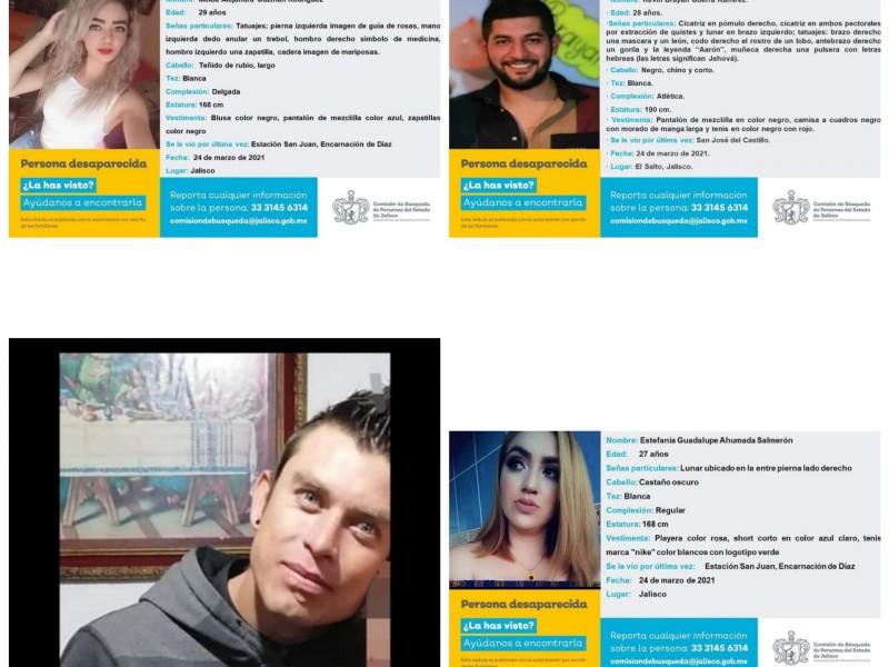 Buscan a cuatro jóvenes desaparecidos en Encarnación de Díaz
