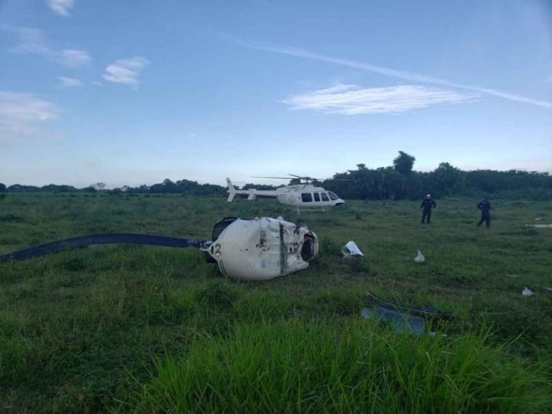 Cae helicóptero en Veracruz, hay 3 heridos