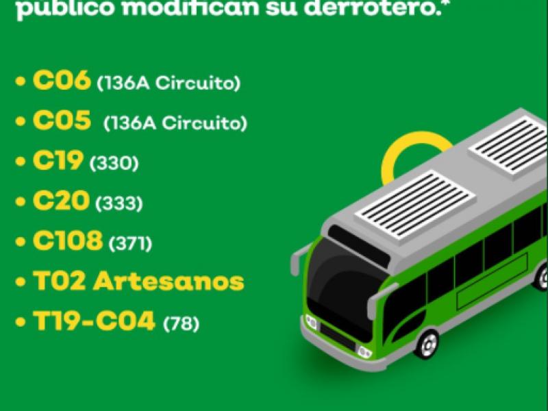 Cambiaran derrotero 7 rutas de transporte público en Tlaquepaque