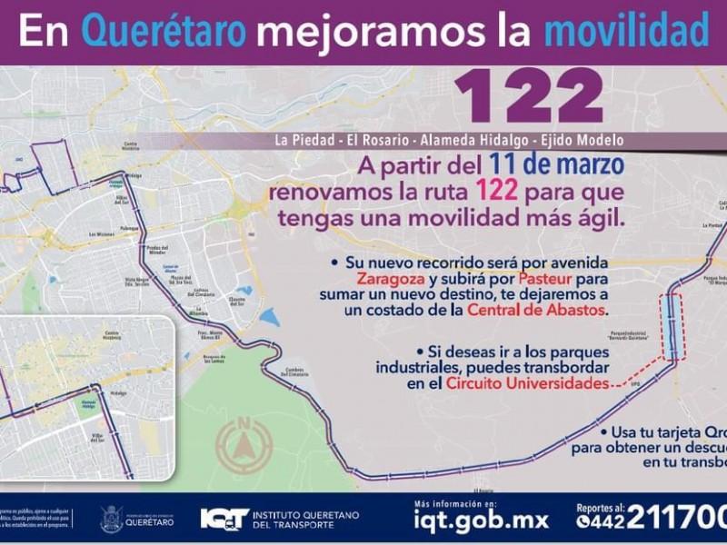 Cambios en rutas 122 y 123