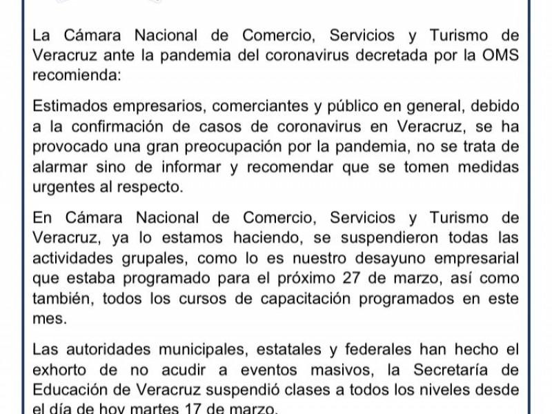 Canaco Veracruz se suma a la suspensión de actividades