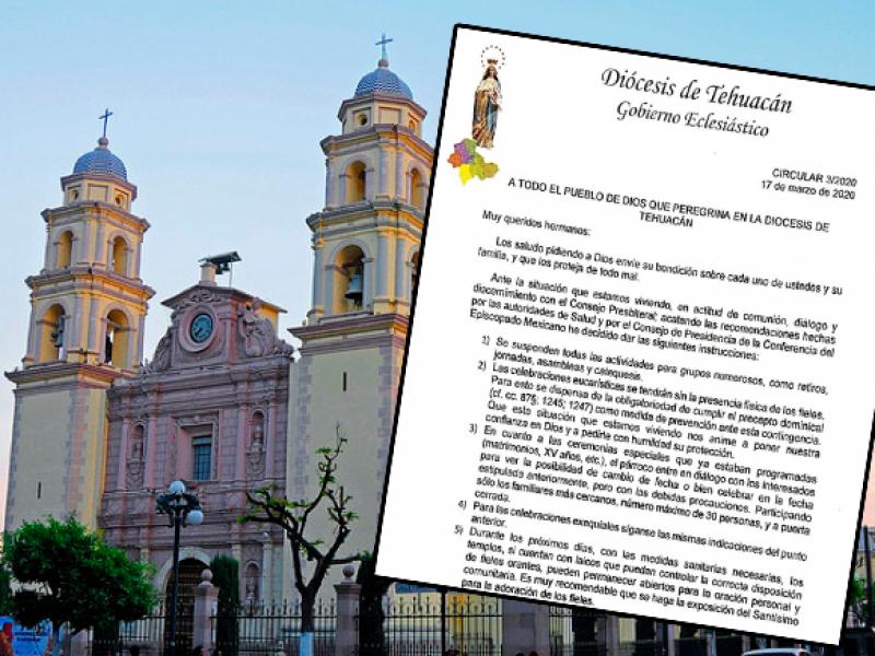Cancela iglesia católica en Tehuacán actos masivos por coronavirus