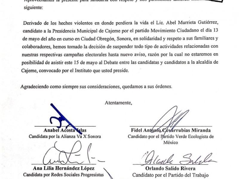 Cancelan candidatos de Cajeme asistencia al debate