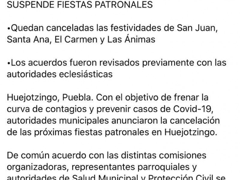 Cancelan feria patronal que pensaban llevar a cabo en Huejotzingo
