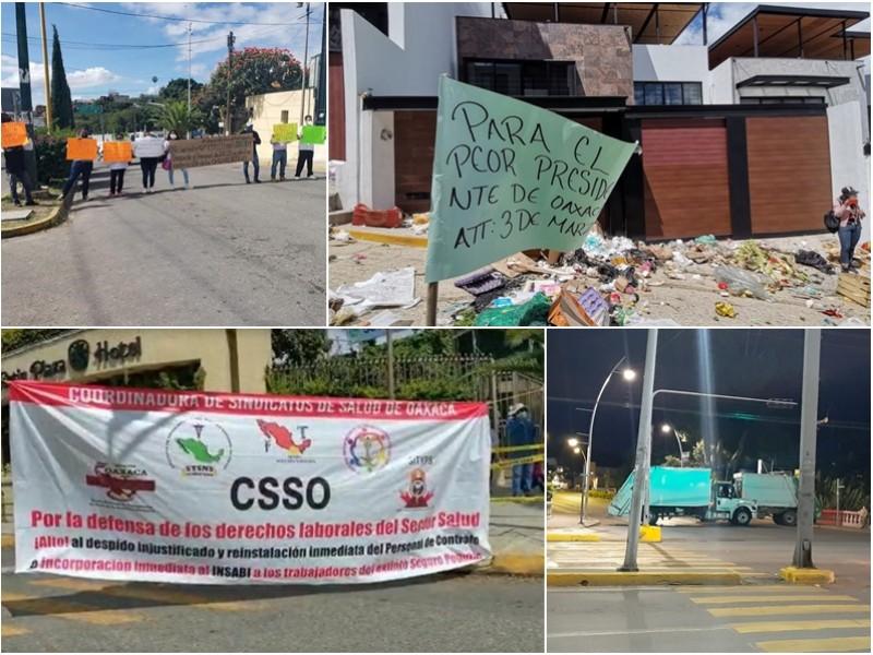 Capital oaxaqueña asfixiada por bloqueos y basura