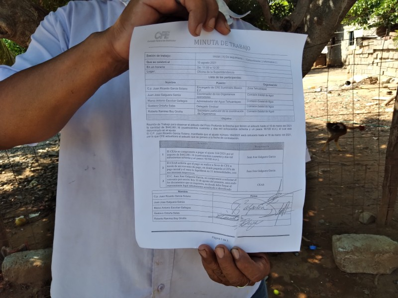 CEA Tehuantepec firman convenio de pago por adeudo a CFE
