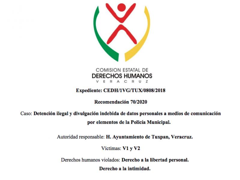 CEDH emite segunda recomendación al municipio de Tuxpan