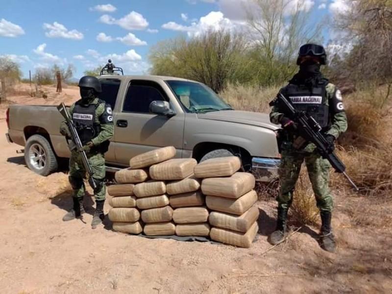 Cerca de 100 Kilos de Marihuana asegura Guardia Nacional