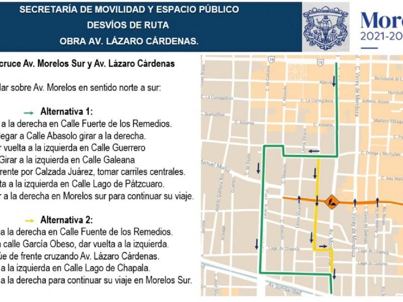 Cerrarán circulación por obras en avenida Lázaro Cárdenas