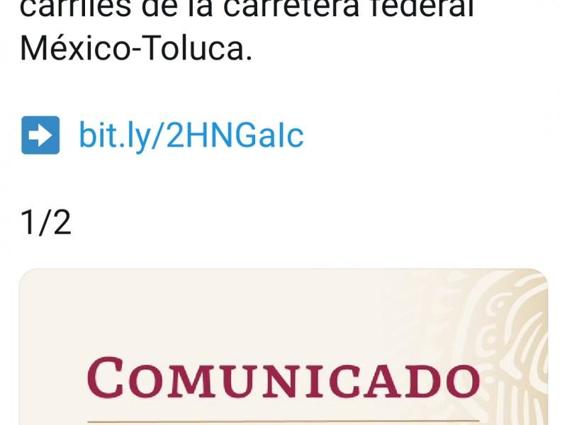 Cerrarán dos carriles de la México-Toluca