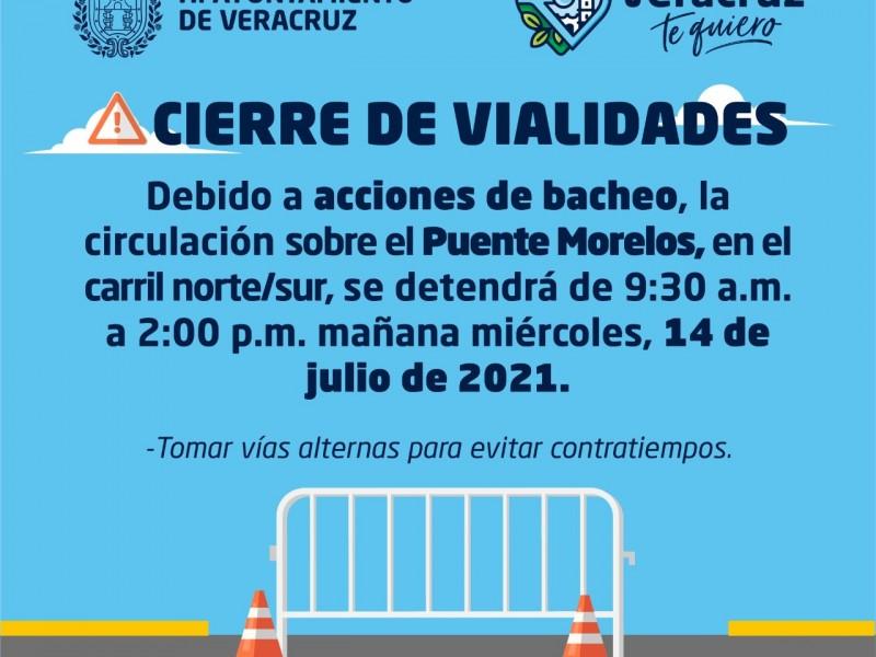 Cerrarán puente Morelos debido a trabajos de bacheo