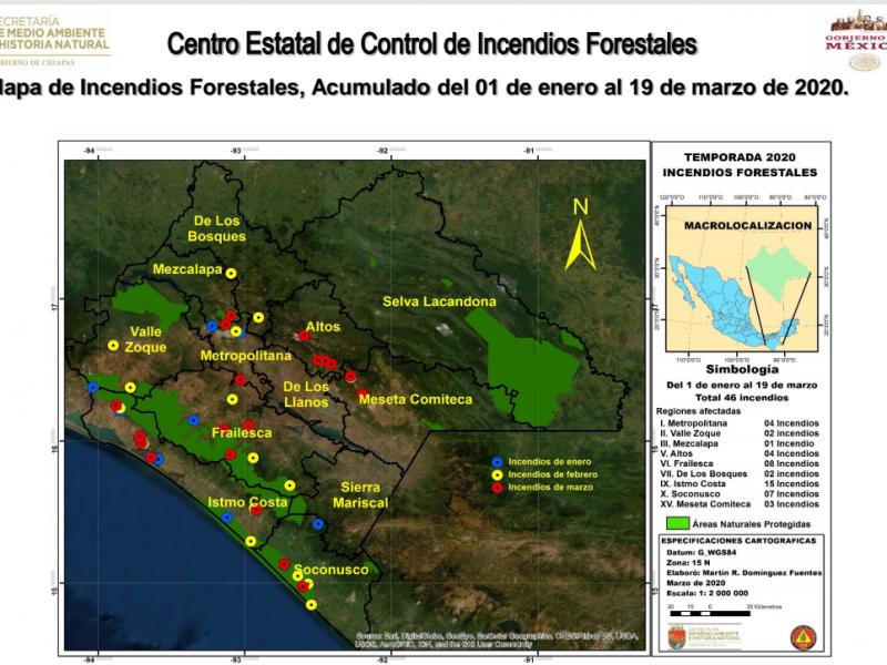 Chiapas tercera entidad con mayor superficie afectada por incendios