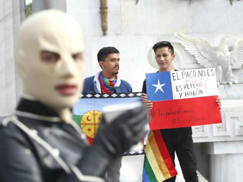 Chilenos protestan contra Piñera en CDMX
