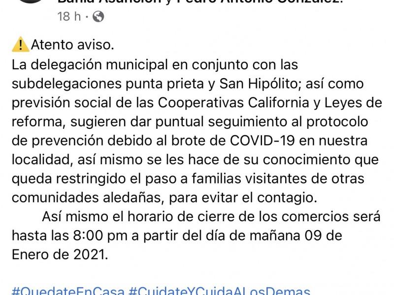 Cierran acceso a Bahía Asunción por aumentos de casos Covid19