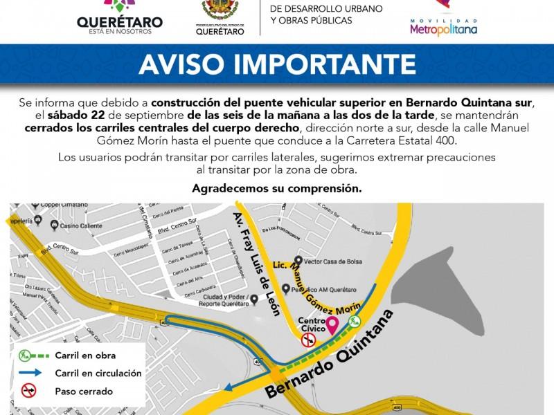 Cierre vial en B Quintana Sur por obras