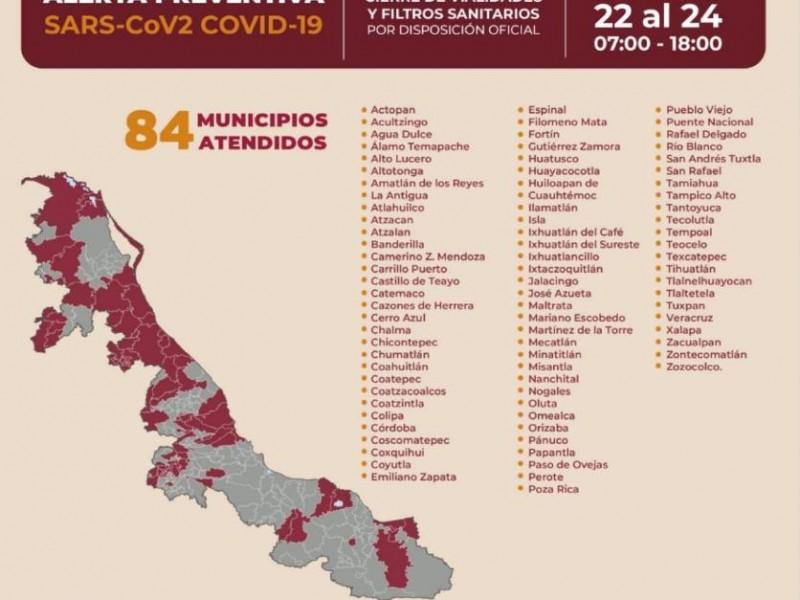 Cierres viales a partir de este viernes en 84 municipios