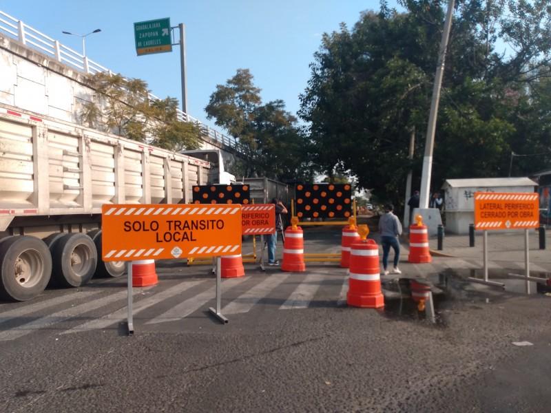 Cierres viales en Periférico Poniente sorprenden a automovilistas
