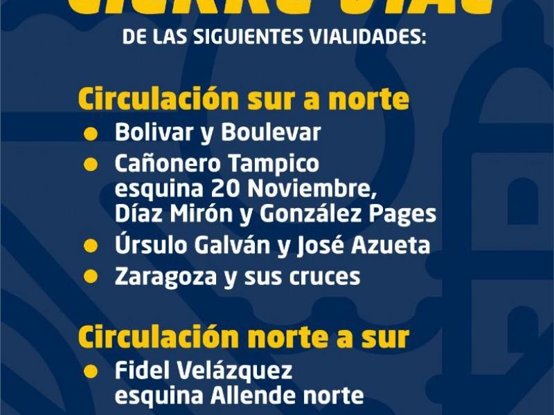 Cierres viales en Veracruz previo al 10 de mayo
