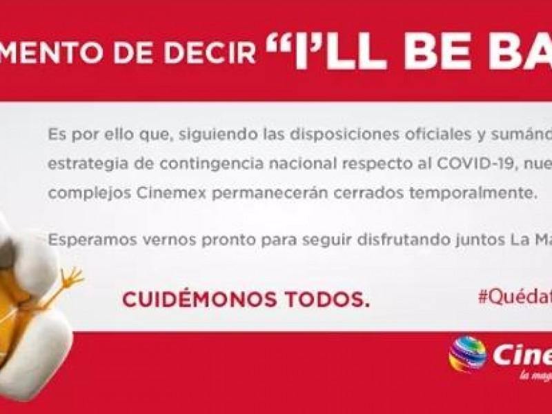 Cinemex anuncia cierre de salas por Covid 19