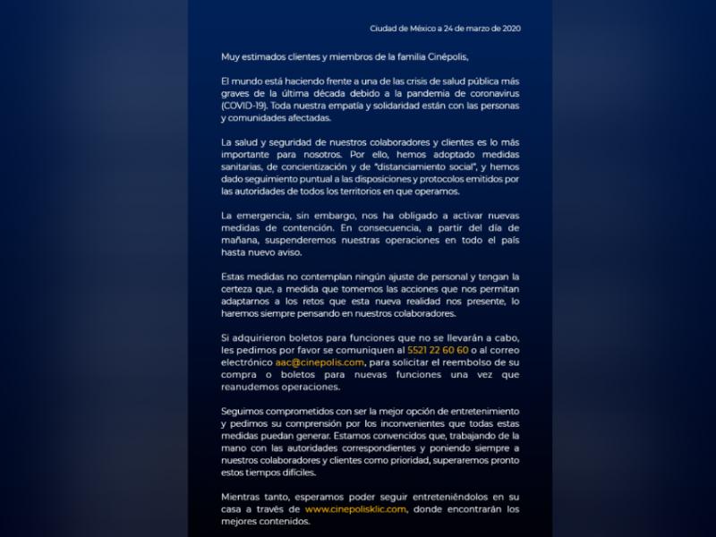 Cinépolis cierra sus puertas por Covid-19