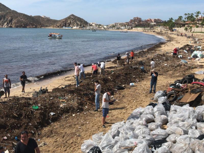 Ciudadanos realizan campaña de limpieza en playa El Médano