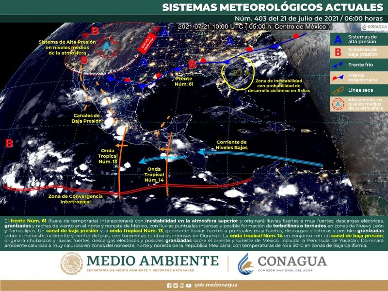 Clima caluroso y probabilidad de lluvias en Sonora