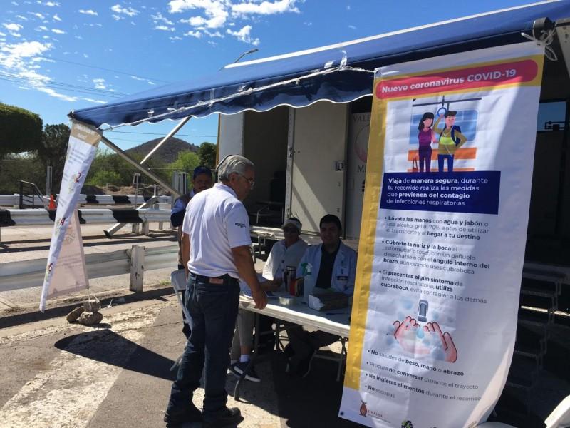 Colocan cercos sanitarios en terminales y caseta de San Miguel