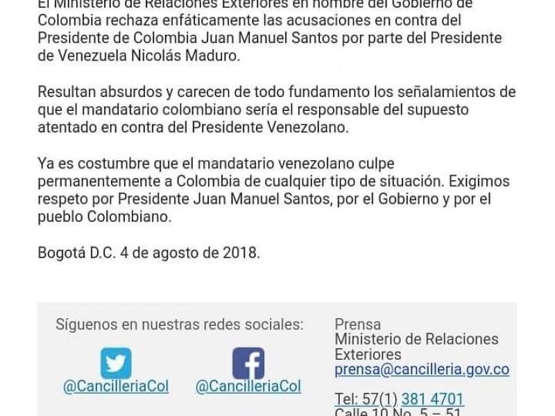 Colombia rechaza acusación de Maduro