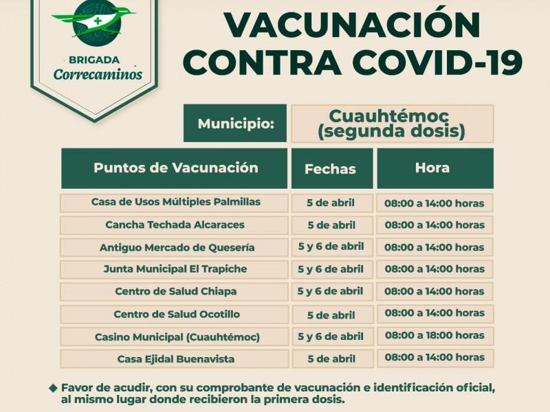 Comenzarán a aplicar segunda dosis contra Covid-19 en Cuauhtémoc