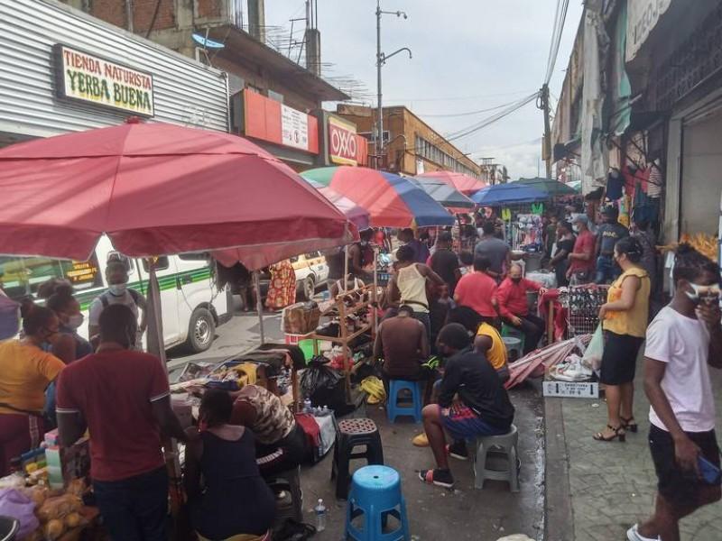 Comerciantes haitianos son desalojados del centro de Tapachula