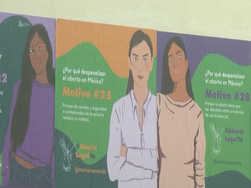 Con tendedero y mural visibilizan la violencia contra las mujeres