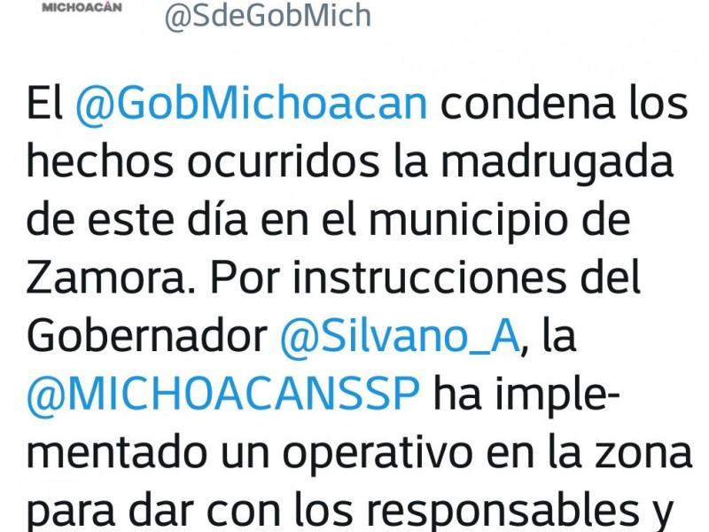 Condena gobierno violencia en Zamora: urge coordinación federal