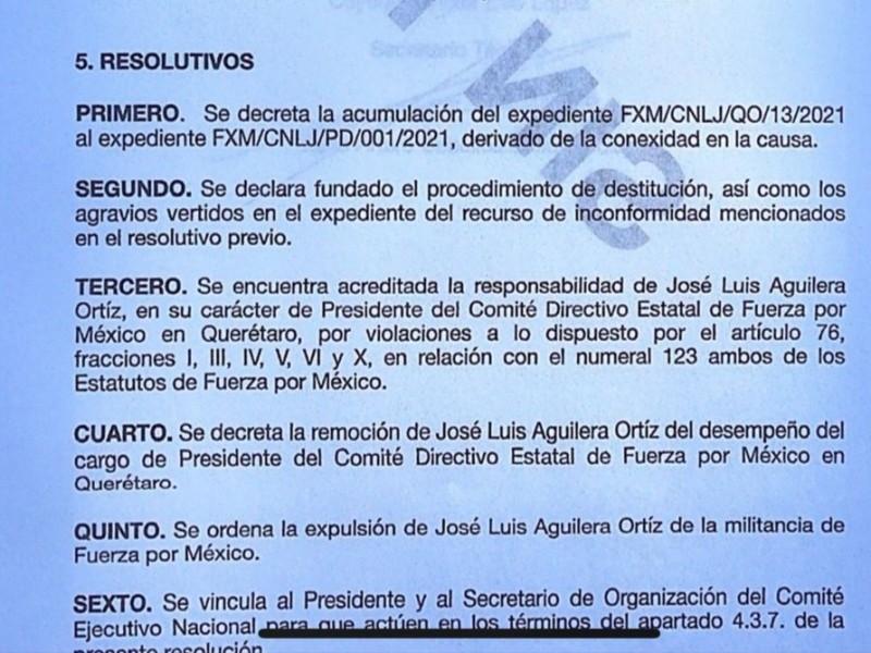 Confirma Fuerza por México expulsión de José Luis Aguilera