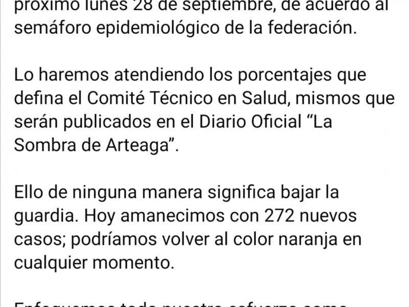 Confirma Pancho Domínguez que la entidad pasa a semáforo amarillo