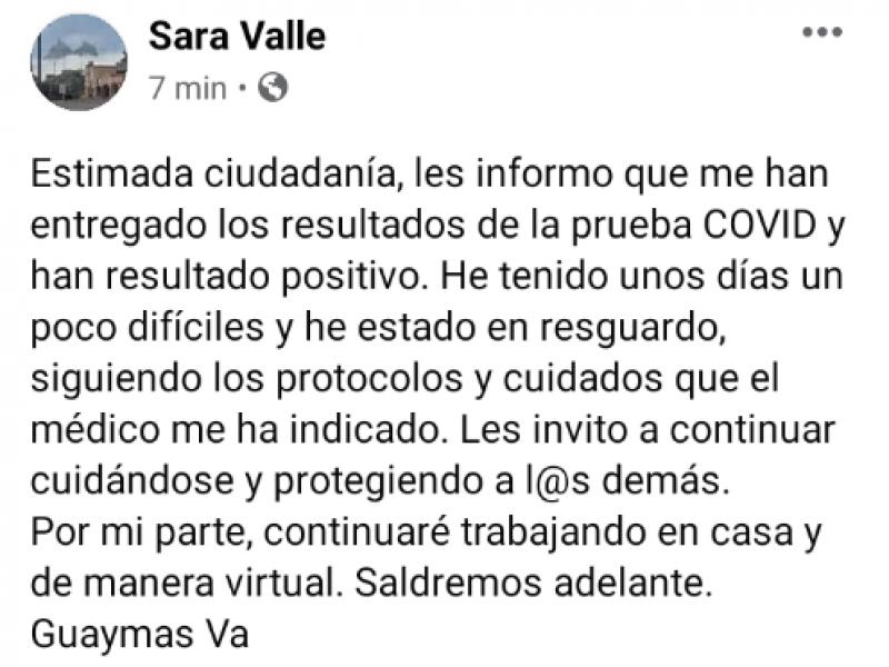 Confirma positivo a Covid-19 la presidenta Sara Valle
