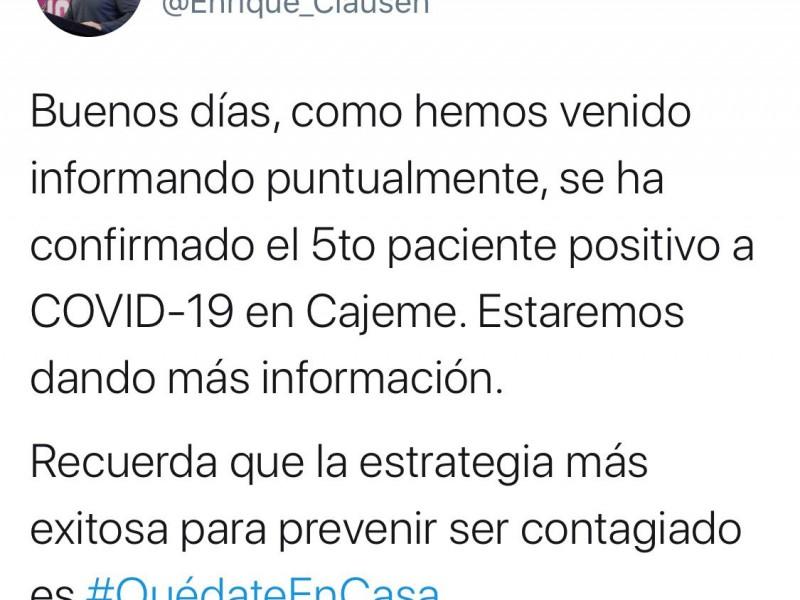 Confirman primer caso de COVID en Cajeme