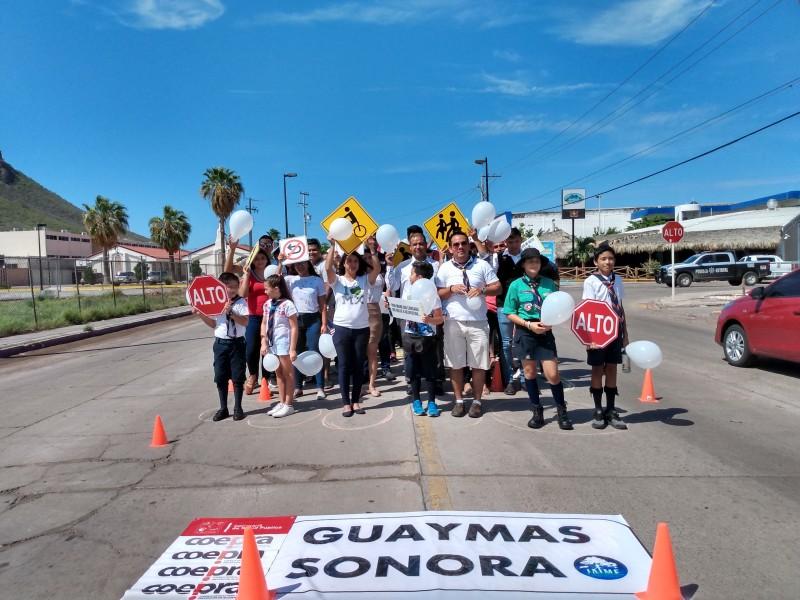 Conmemoran día del peatón en Guaymas