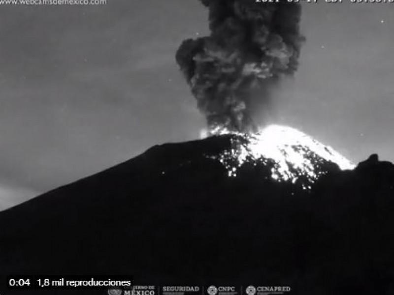 Continúa actividad volcánica del Popocatépetl