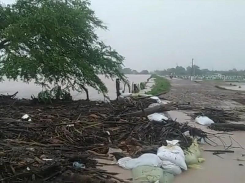 Continúa afectación por desbordamiento del río Acaponeta en Tecuala
