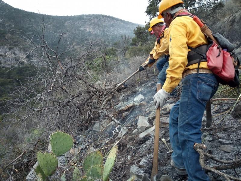 Continúa combate contra incendio forestal en Arteaga
