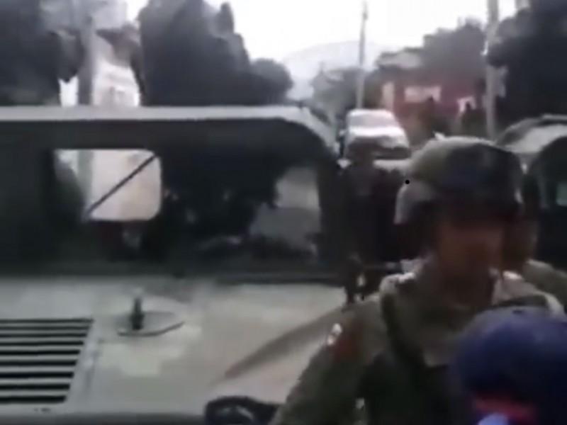 Tras enfrentamiento, continúa presencia de militares en Acajete