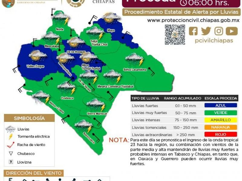 Continuarán las lluvias en Chiapas