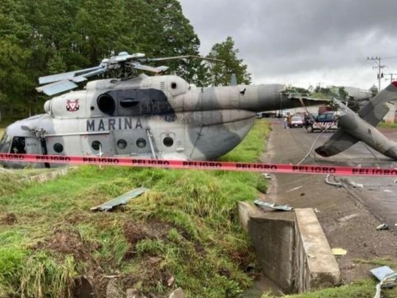 Cuatro lesionados en desplome del helicóptero de la Marina