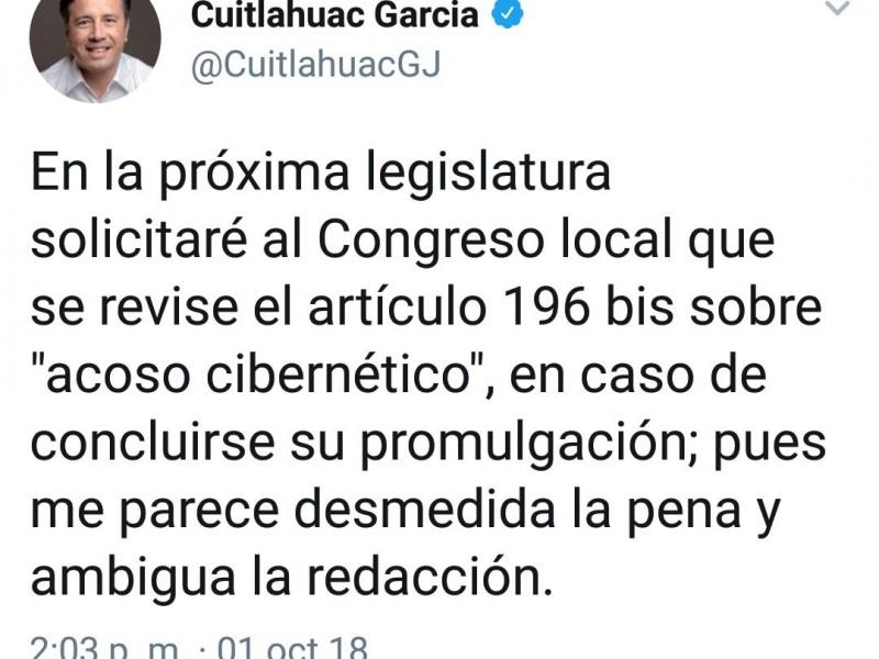 Cuitláhuac García solicitará revisión de Ley Antimemes
