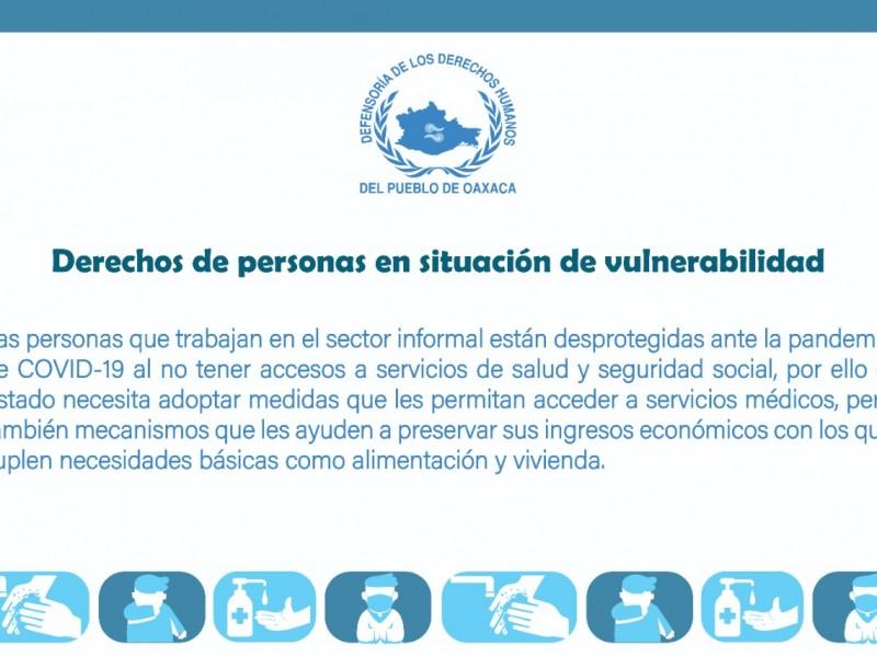 DDHPO solicita atención médica y económica a sectores vulnerables